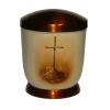 Hand painted metal urn - Sephia, Grave cross