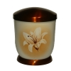 Hand painted metal urn - Sephia, Lily