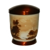Hand painted metal urn - Sephia, Water front