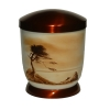 Hand painted metal urn - Sephia, Cedar tree