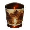 Hand painted metal urn - Sephia, Forest